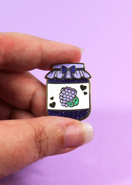 Blackberry Jam Hard Enamel Glitter Pin - Precious Preserves Series