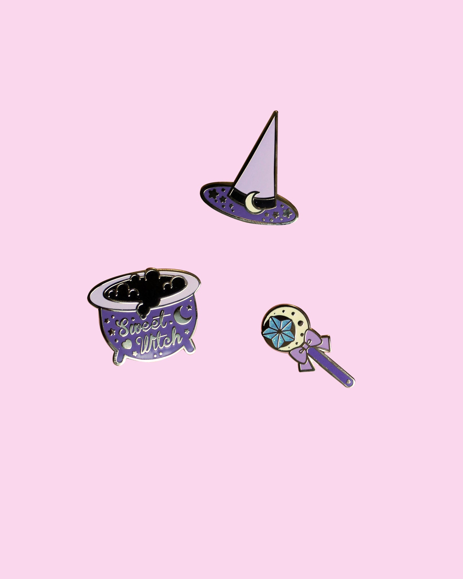 Sweet Witches Enamel Pins - Gold Plated Lavender