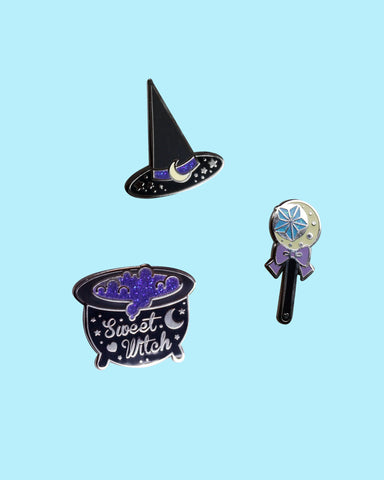 Sweet Witches Enamel Pins - Silver Plated Black