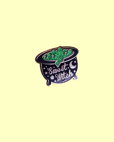 Sweet Witches Enamel Pins - Green Glitter Cauldron Variant