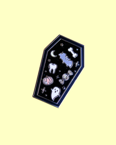 Coffin Full Of Spoops - Hard Enamel Pin with Glitter & Screenprinting