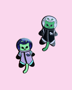 Martian Kitty Astronaut Alien Cat Hard Enamel Pin - Glitter & Glow in the Dark!