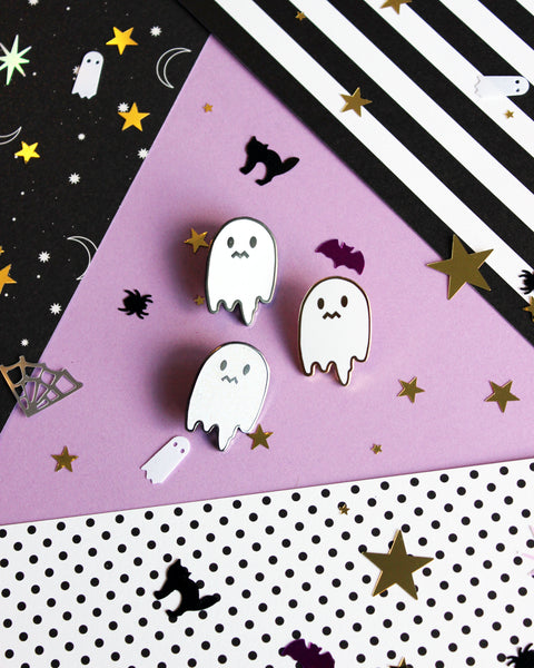 Uneasy Ghost Solid White Enamel Pin - Hard Enamel, NO GLITTER