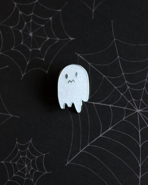 Uneasy Ghost Glitter Enamel Pin - White with Iridescent Glitter Hard Enamel