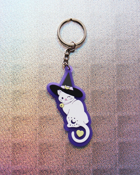 Witch Kitty Translucent PVC Keychain