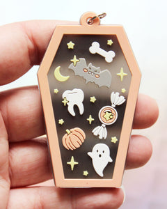 Kawaii Coffin Translucent PVC Keychain - Orange & Black or Pink & Purple