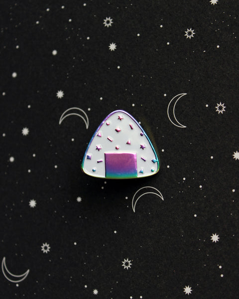 Rainbow Confetti Onigiri Soft Enamel Pin - Oil Slick Anodized Plating