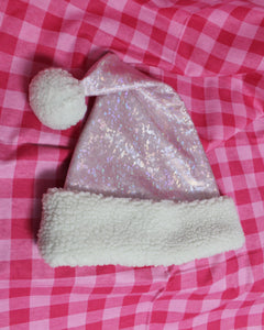 Handmade Fleece-Lined Holographic Santa Hat - Pink/Ivory