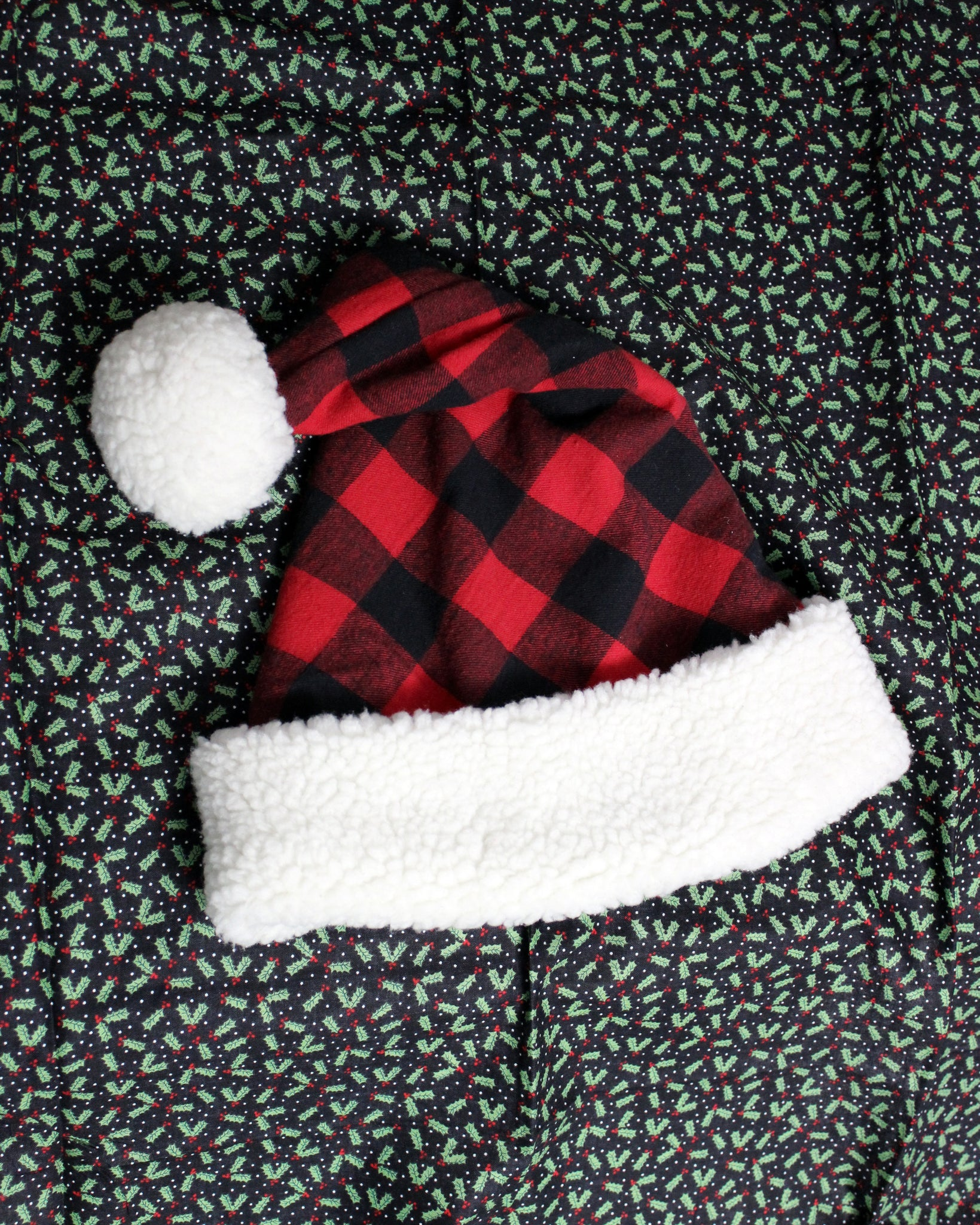 Handmade Fleece-Lined Buffalo Plaid Santa Hat - Red/Black/Ivory