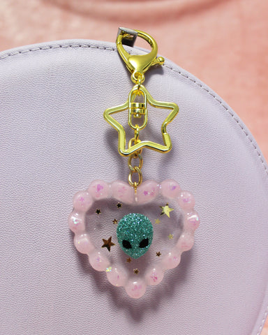 Alien Love Keychain - Glittery Ruffled Jelly Heart with Handmade Alien Inclusion & Gold Stars