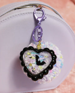Bats In Starlight Keychain - Glittery Ruffled Jelly Heart with Bat Confetti & Iridescent Stars