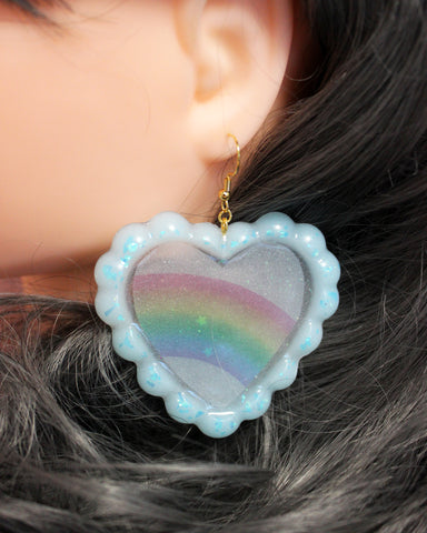 Milky Rainbow - Glittery Ruffled Jelly Heart with Handmade Rainbow Inclusions & Iridescent Stars