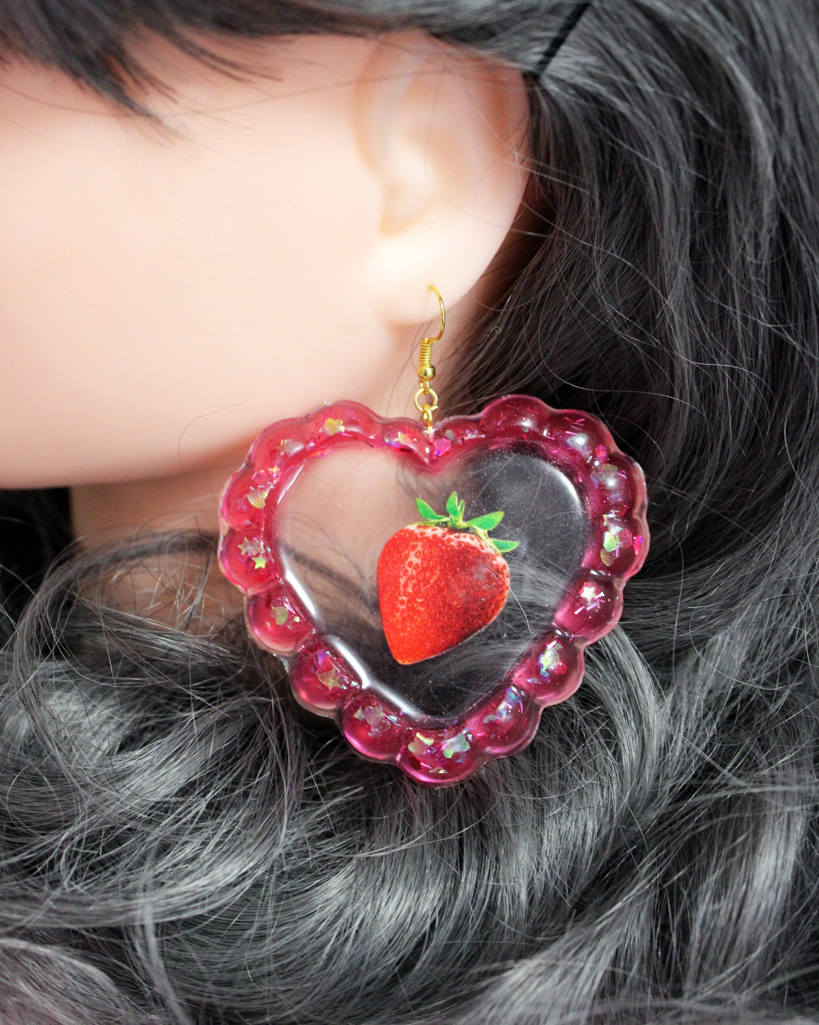 Floating Strawberry Earrings
