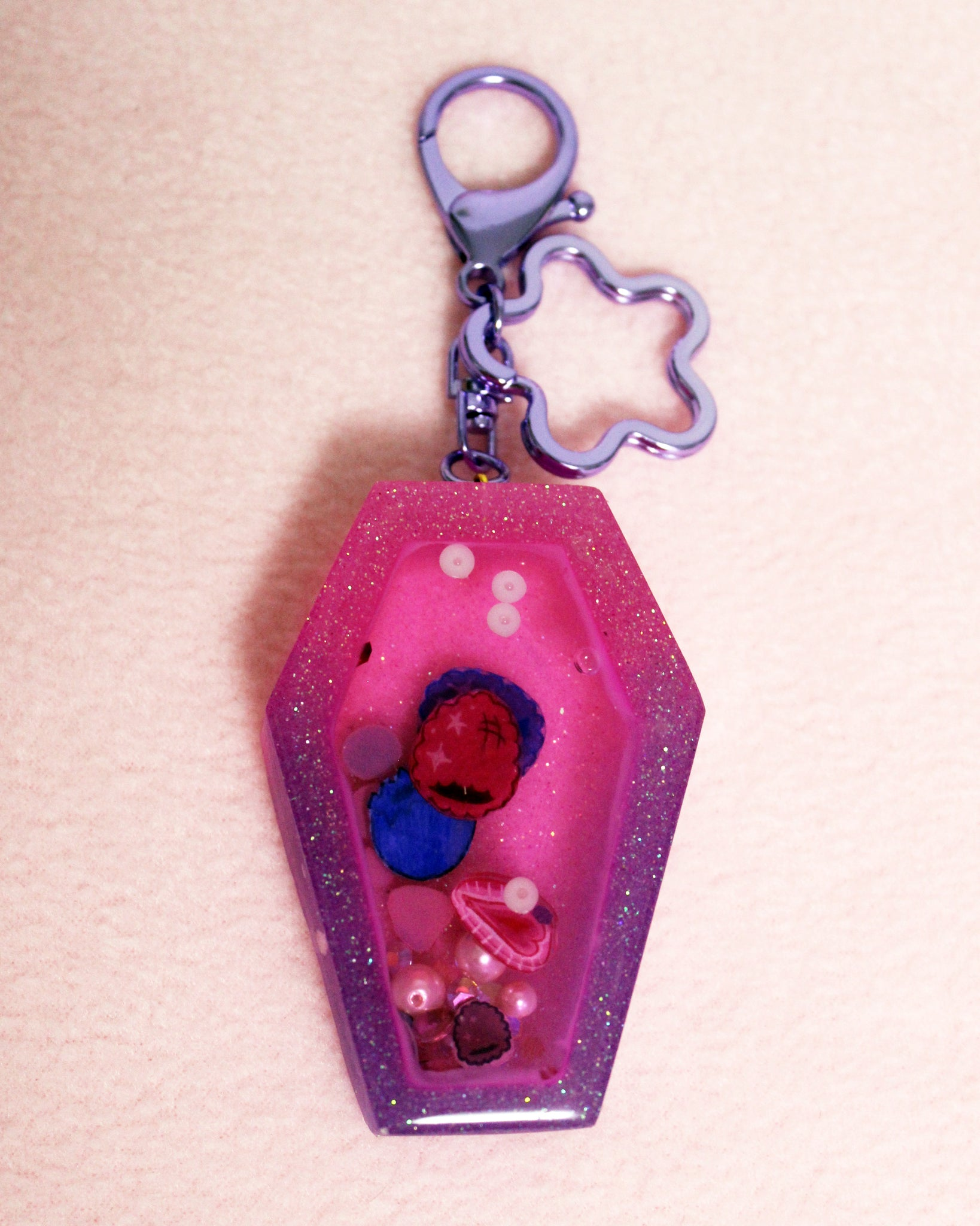 SECONDS Mixed Berry Liquid Filled Coffin Shaped Shaker Keychain