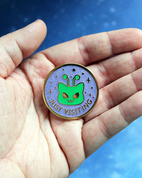Just Visiting Martian Kitty Glow in the Dark - Hard Enamel Pin