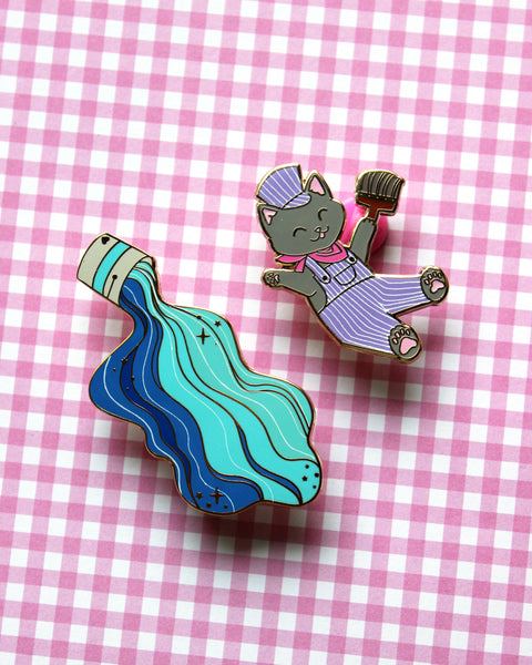 Painter Kittens and Paint Buckets - Hard Enamel Pins