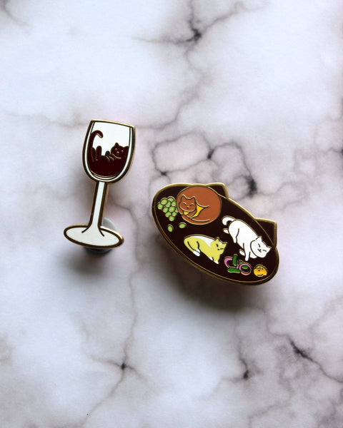 Purrfect Pairing Cat Wine and Cat Cheese Plate - Hard Enamel Pins