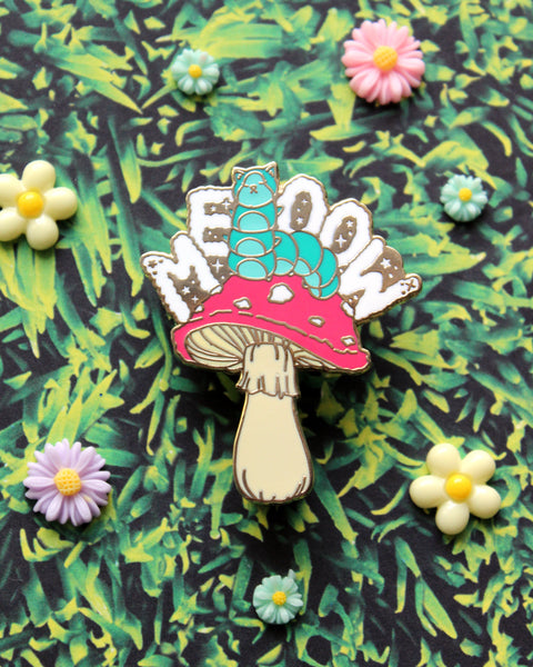Caterpillar on the Mushroom - Kitties In Wonderland Series Hard Enamel Pin