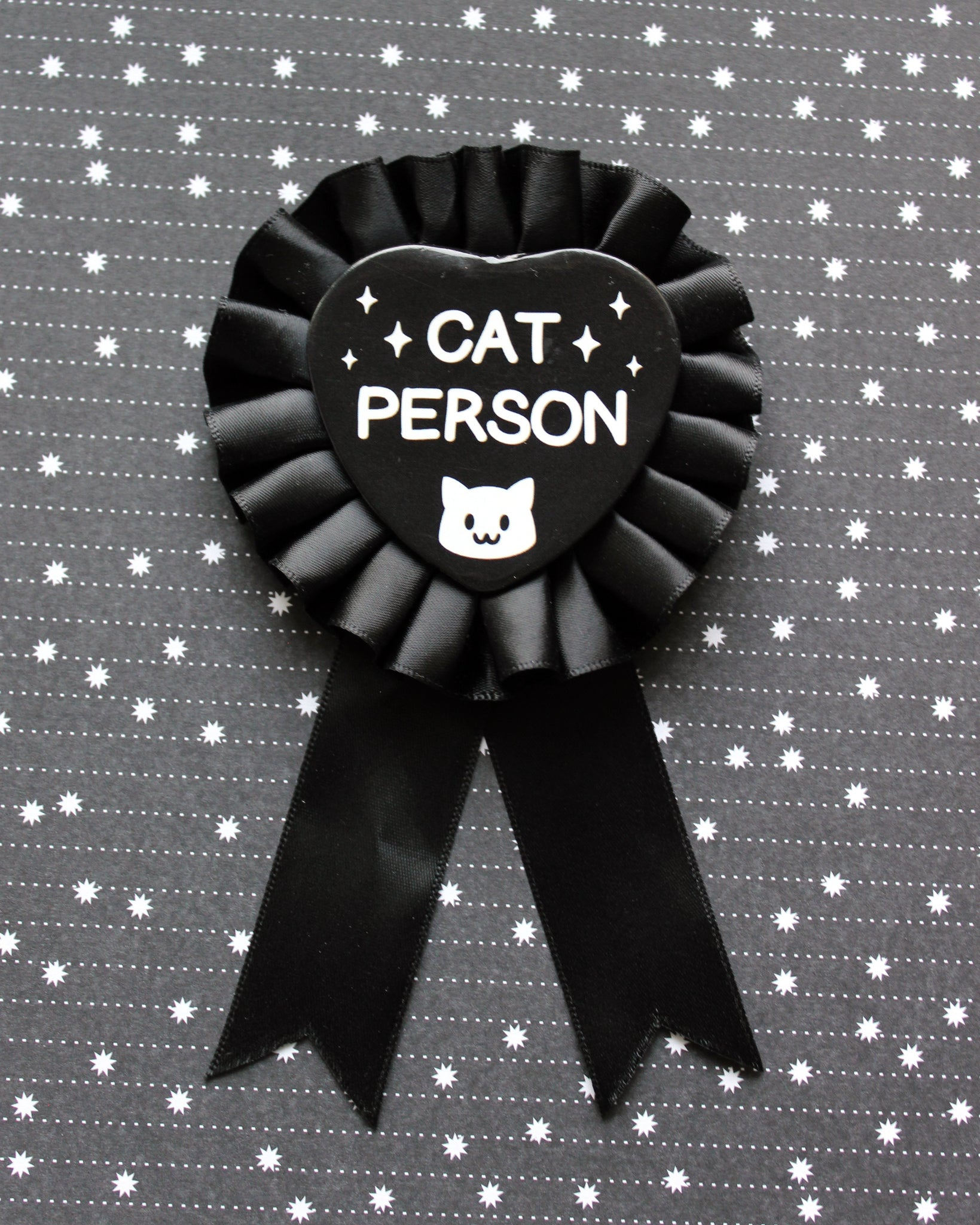 Cat Person Rosette Pin Back Badge