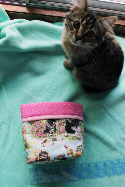 Kittens in the Garden Fabric Basket