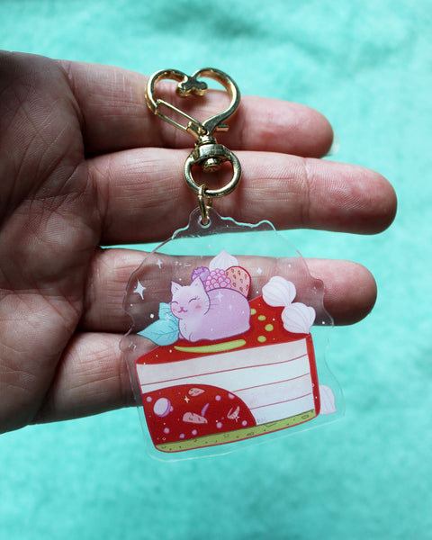 Wild Berry Kitty Cake Acrylic Charm