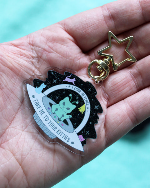 Martian Kitty UFO Acrylic Charm - Take Me To Your Kitties