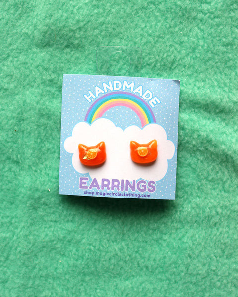 Dainty Kitty Head Earrings