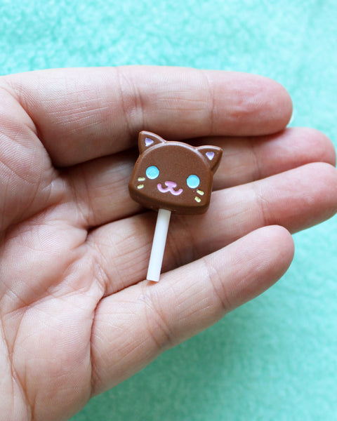 Chocolate Lollipop Cats Brooch - Various Colors