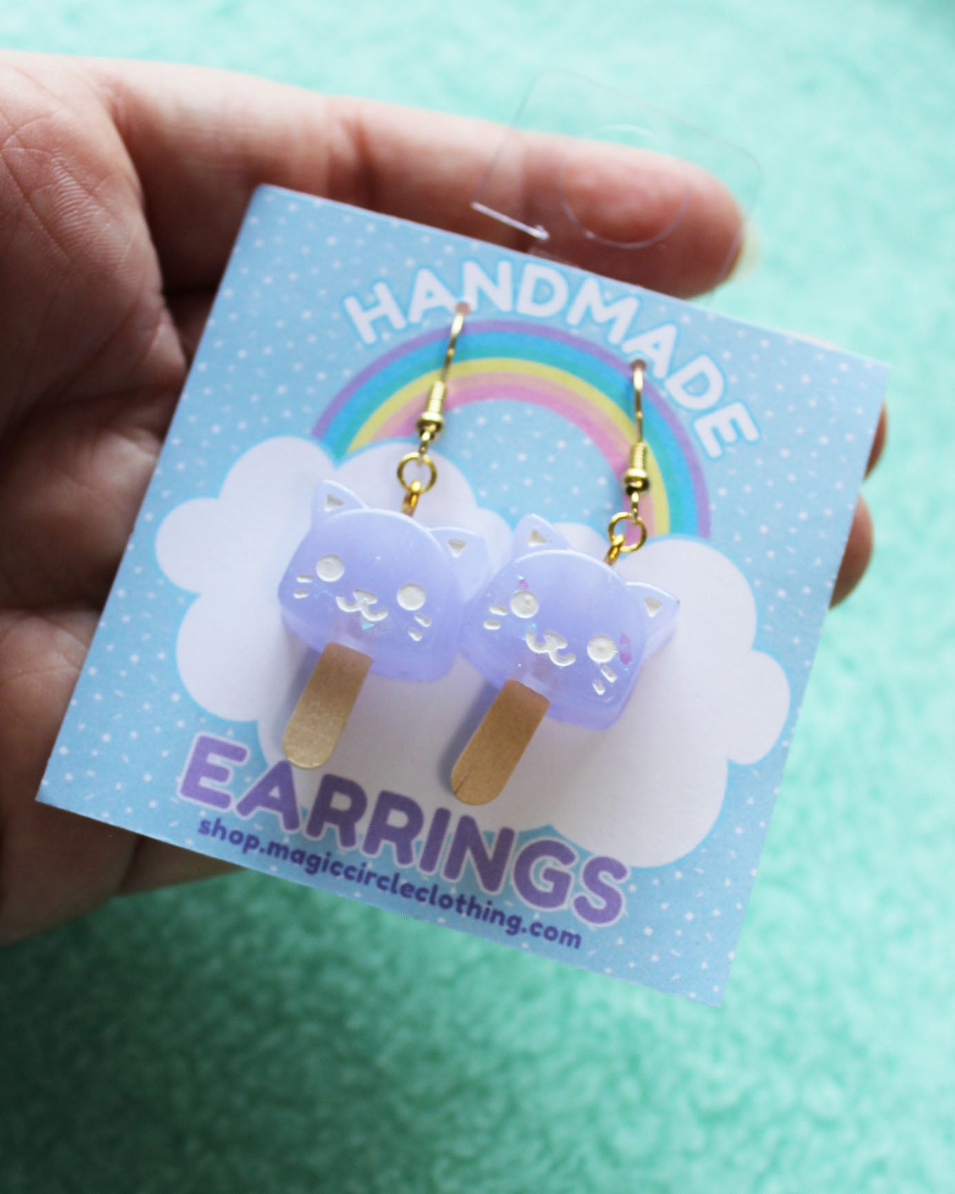 Catsicle Earrings - Kitty Popsicle Dangles