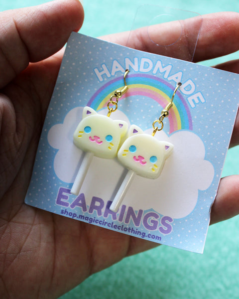 Chocolate Cat Lollipop Earrings