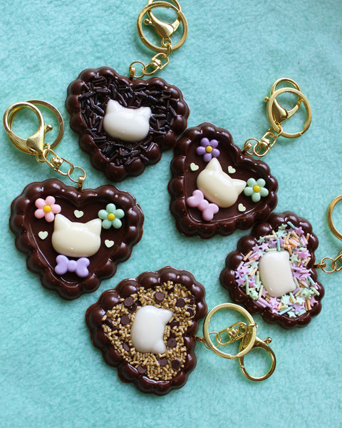 Dark Chocolate Heart Cat Charm Keychain