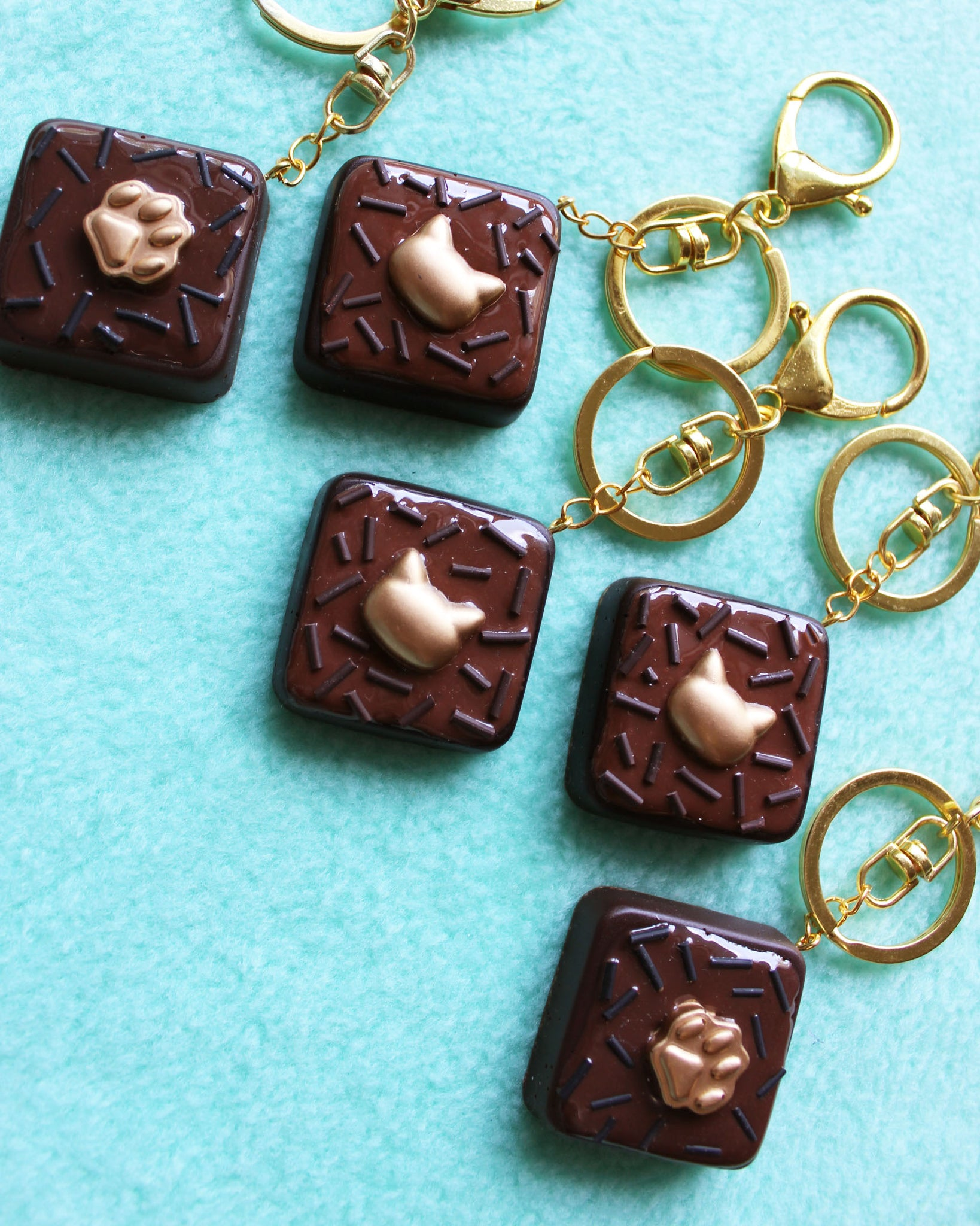 Brownie Bites with Gold Kitty Decorations