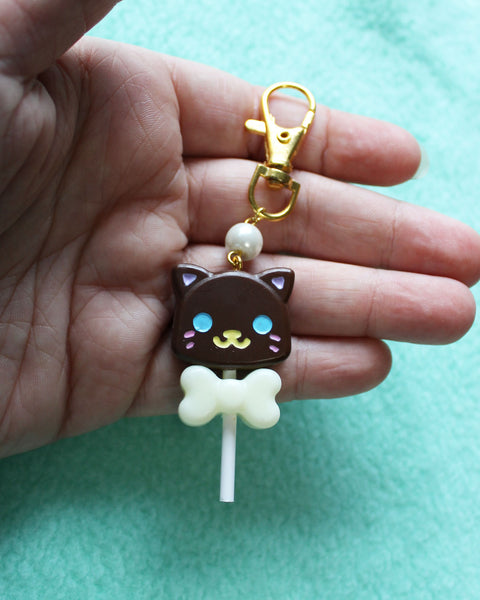 Chocolate Cat Lollipops Resin Charms