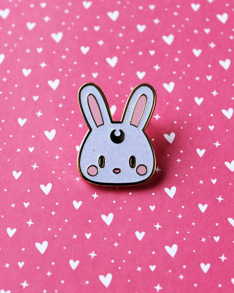 White Glitter Kawaii Usagi Bunny Rabbit Hard Enamel Pin