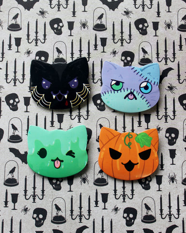 Halloween Cat Head Pin Back Buttons - Vampire Frankenstein's Monster Slime Cat and Pumpkin Cat
