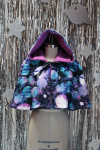 Galactic Capelet - Pastel Outer Space Fleece Mini Cape with Hood - Fully Reversible