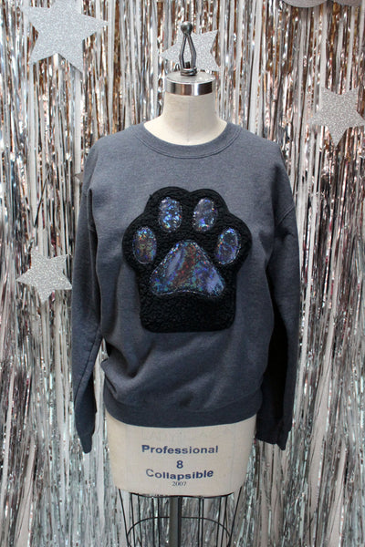 Black Kitty Paw Sweatshirt - Holographic Toe Beans