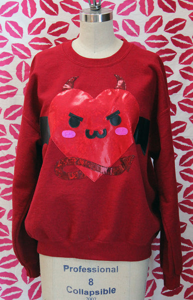 Kawaii Holographic Heart Devil Limited Edition Valentine Sweatshirt - Sizes S-5X