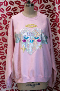 Kawaii Holographic Heart Angel Limited Edition Valentine Sweatshirt - Sizes S-5X