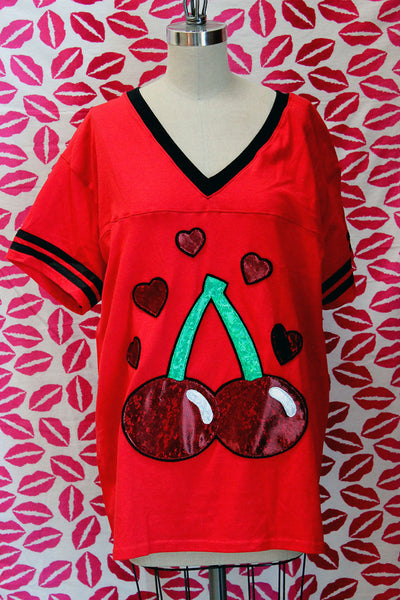 Red Cherries and Hearts Jersey Style T-Shirt - Sizes S-5X