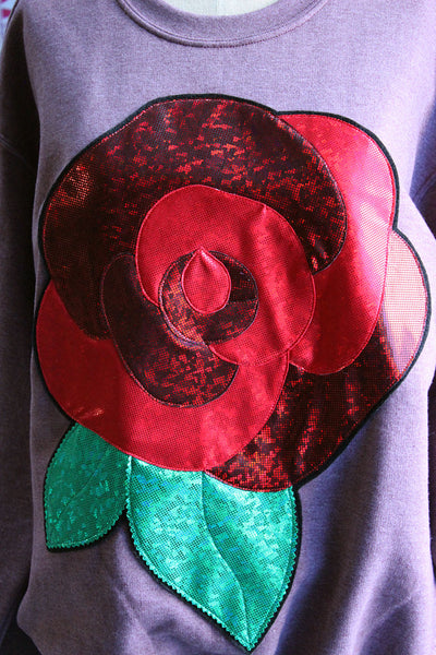 Holographic Red Rose Limited Edition Valentine Sweatshirt - Sizes S-5X