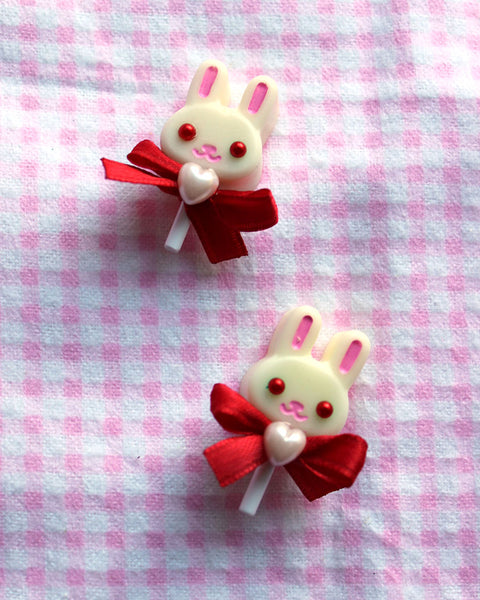 White Chocolate Bunny Lollipop Brooches