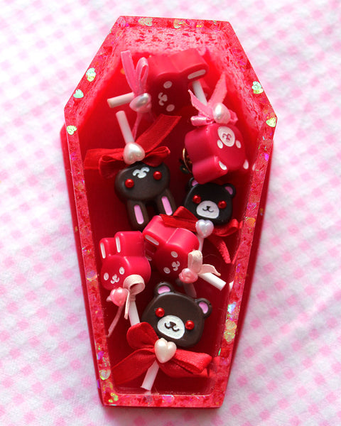 Dripping Red Coffin Trinket Box with Heart Glitters