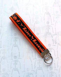 Happy Hauntin' Black and Orange Key Fob - Ready To Ship