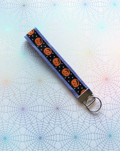 Lavender Polka Dot Pumpkins Key Fob - Ready To Ship