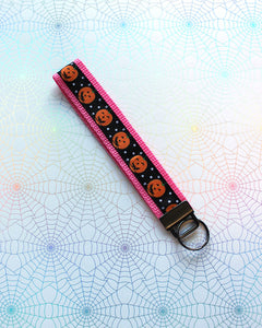 Pink Polka Dot Pumpkins Key Fob - Ready To Ship