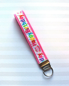 Pink Happy Birthday Key Fob - Ready To Ship