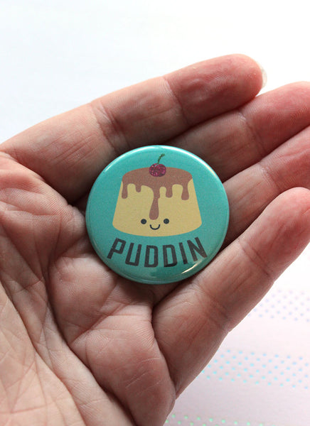 "Puddin 1.5"" Pin-Back  Button - Cherry Topped Flan with Cute Face"