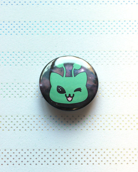 "Martian Kitty Wink 1.5"" Pin-Back  Button - You Are STELLAR!"