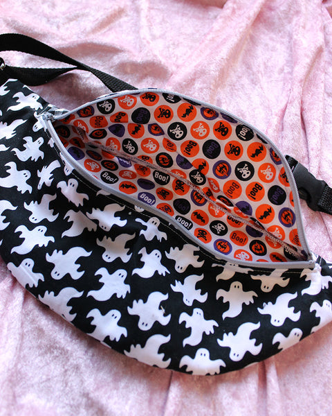 "Gingham and Ghosts Fanny Pack or Sling Bag - READY TO SHIP - 36""-48"""